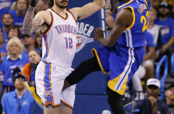 In this Sunday, May 22, 2016 photo, Golden State's Draymond Green's leg is between the legs of Oklahoma City's Steven Adams (12) during Game 3 of the Western Conference NBA basketball  finals in Oklahoma City. Draymond Green has been suspended by the NBA for Game 4 of the Western Conference finals for kicking Oklahoma City's Steven Adams in the groin.  The league announced Green's penalty Monday, May 23, 2016,  after reviewing the play from the Thunder's 133-105 victory over Golden State on Sunday night.   (Bryan Terry/The Oklahoman via AP) LOCAL STATIONS OUT (KFOR, KOCO, KWTV, KOKH, KAUT OUT); LOCAL WEBSITES OUT; LOCAL PRINT OUT (EDMOND SUN OUT, OKLAHOMA GAZETTE OUT) TABLOIDS OUT; MANDATORY CREDIT